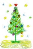 画圣诞树的孩子 库存图片