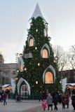圣诞树的看法在维尔纽斯 库存图片