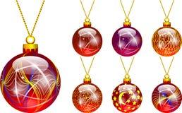 圣诞树红色的装饰 向量例证
