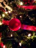圣诞树红色玻璃装饰品 库存照片