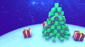圣诞树给礼物 使成环的3d动画 向量例证
