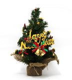 圣诞树美妙地装饰,新年的节日,白色背景 免版税库存照片