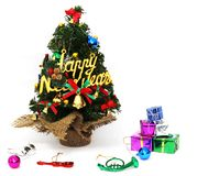 圣诞树美妙地装饰,新年的节日,白色背景 图库摄影