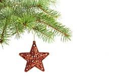 圣诞树装饰。红色星形 库存照片