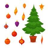 圣诞树装饰了传染媒介例证 免版税库存图片