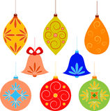圣诞树装饰品例证 免版税库存照片