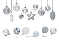 圣诞树装饰品的银色圣诞节新年中看不中用的物品 免版税库存图片