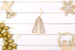 圣诞树装饰圣诞树天使雪花 库存图片