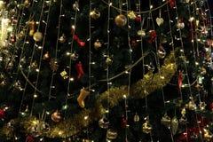 圣诞树装饰背景与夜点燃,圣诞节假日庆祝,圣诞树,一个新的欧洲冬天 库存图片