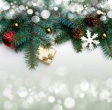 圣诞树装饰边界设计 免版税库存照片