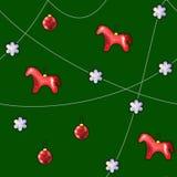 圣诞树装饰:马和球 免版税图库摄影