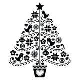 圣诞树设计-与鸟、花和雪花的民间样式 免版税库存图片