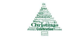 圣诞树词云彩,非常简单的绿色文本 免版税库存照片