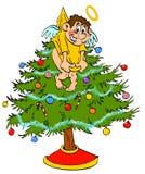 圣诞树轻便短大衣天使 免版税库存照片