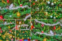 圣诞树集合圣诞节假日贺卡 免版税库存图片