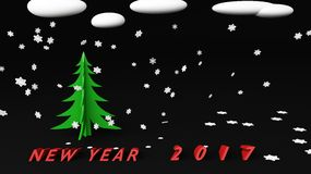 圣诞树雪3d 库存例证
