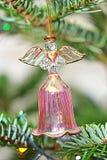圣诞树水晶天使响铃装饰 库存图片