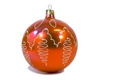 圣诞树-红色美丽的气球的装饰。 免版税图库摄影