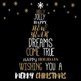 圣诞树从词的传染媒介形状-印刷构成 免版税库存图片