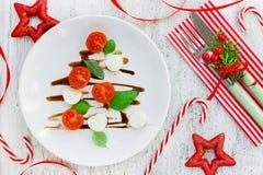 圣诞树caprese沙拉,欢乐开胃菜 圣诞节表 免版税库存照片
