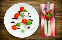 圣诞树caprese沙拉,欢乐开胃菜 库存照片
