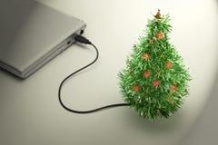 圣诞树usb假期 免版税库存图片