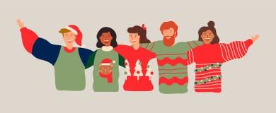 圣诞派对的不同的朋友小组横幅 皇族释放例证