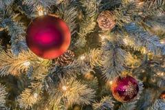 圣诞灯和装饰品 免版税库存图片
