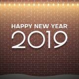 圣诞灯在棕色砖墙背景的装饰 新年2019年概念 皇族释放例证