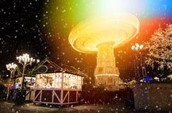 圣诞灯在游乐园Liseberg, Gothenbur,瑞典 免版税库存照片