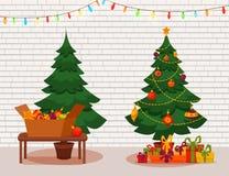 圣诞灯存在结构树 库存照片