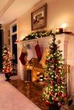 圣诞灯客厅 图库摄影