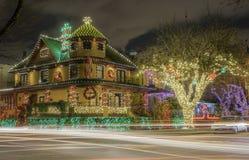 圣诞灯房子装饰 库存照片