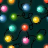 圣诞灯无缝的样式 库存例证
