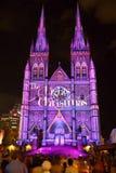 圣诞灯显示St Marys大教堂悉尼 免版税库存照片