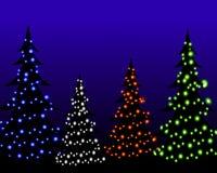 圣诞灯晚上结构树 免版税库存图片