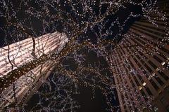 圣诞灯曼哈顿 免版税库存照片