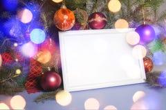圣诞灯框架 免版税库存图片