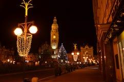 圣诞灯正方形在Prostejov 免版税库存照片