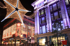 圣诞灯牛津街道 免版税库存图片