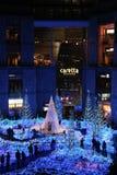 圣诞灯的照明在Shiodome,东京,日本的 库存图片