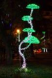 圣诞灯蘑菇 免版税库存图片