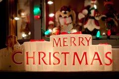 圣诞灯装饰在Bayside,纽约的女王/王后 免版税库存照片