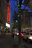圣诞灯西雅图街市夜 免版税库存图片