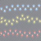 圣诞灯隔绝了现实设计元素 库存例证