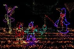 圣诞灯-企鹅,溜冰者,孩子! 免版税库存照片
