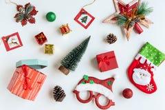 圣诞礼物、装饰品和装饰汇集 免版税库存照片