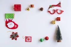 圣诞礼物、装饰品和装饰汇集 库存照片