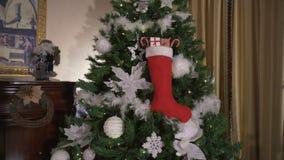 圣诞礼物在手边,圣诞树背景 股票录像