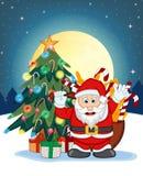 圣诞老人、雪、圣诞树和满月在晚上您的设计传染媒介例证的 免版税库存照片